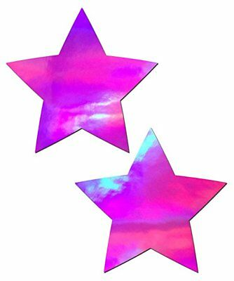 Pastease Pink Hologram Star Pasties Cover  ~ 1 pair