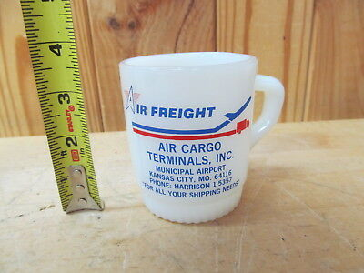 Vintage Advertising Fire King Mug Air Freight Cargo Airport Kansas City MO