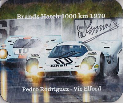 PORSCHE 917 BRANDS HATCH 1000 km 1970 Art mouse pad - Hand signed by Vic Elford