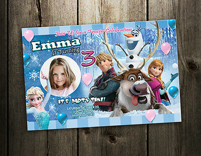 FROZEN DISNEY BIRTHDAY PARTY INVITATION CUSTOM CARD first 1st PHOTO INVITE -a5