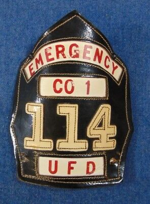 Leather Fire Department Front Helmet Shield Emergency Co 1 UFD 114 As Shown