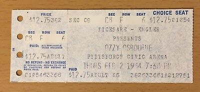 1984 Ozzy Motley Crue Shout At The Devil Tour Pittsburgh Concert Ticket Stub