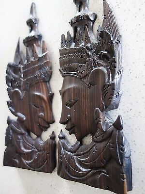 VINTAGE RETRO 60s PAIR ORNATE HAND CARVED ASIAN TEMPLE FIGURES