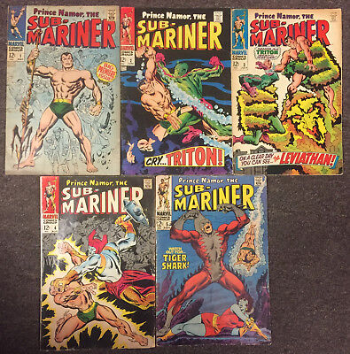 Sub-Mariner #1 2 3 4 5 Marvel 1st. App. Tiger Shark