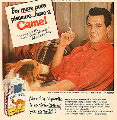Rock Hudson & Collie - How's Your Disposition? - Camel Cigarette Ad - 1956