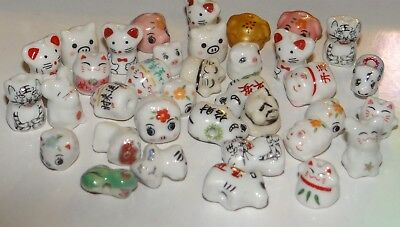 Porcelain Animal Beads, Cats, Pigs, etc..Assorted, Approx.10-13, 1/4 lb, #001