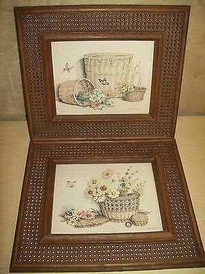Vintage~Homco~Floral Picture~Rattan~Plastic~Wall Hanging~Pair~Baskets~Butterfly