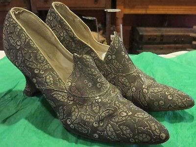 Antique Victorian W. E. Healey & Sons Ladies Dancing Shoes, 10 3/4 x 2 3/4""