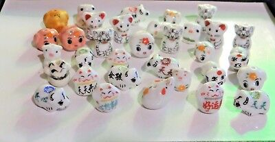 Porcelain Animal Beads, Cats, Pigs, etc..Assorted, Approx.10-13, 1/4 lb, #002