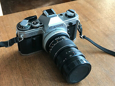 CANON AE-1 35mm SLR with TELESAR 135mm 1:3.5 Lens/NO RESERVE