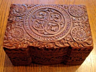 Unique Artisan Hand Carved Wood Jewelry Case with pull out tray VGC