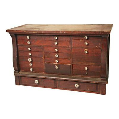 Vintage WOOD APOTHECARY CABINET 18 Drawer jeweler's industrial box storage chest