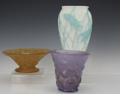 LOT 3 Phoenix Consolidated Amber Flower Amethyst Bubble Owl Glass Vase Bowls BNF