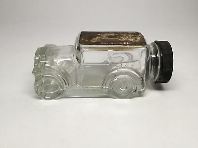 Vintage Glass Candy Container - Truck w/ Plastic Cap and Original Label!