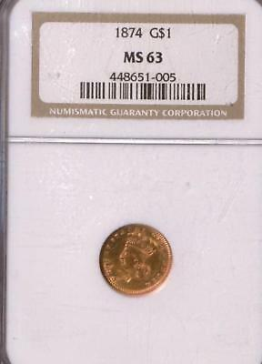 1874 Indian Princess Head Gold $1 | NGC MS 63 | Old Gold | NR (RC8051)