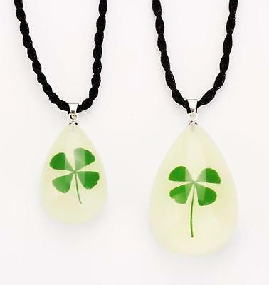1 REAL GLOWING IN DARK FOUR LEAF CLOVER DROP PENDANT&NECKLACE XMAS JEWELRY f01