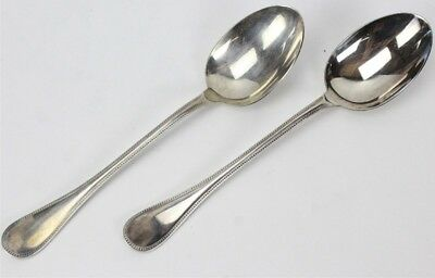 Pair Christofle France PERLES Pattern Silver Plate Flatware Serving Spoons PBB
