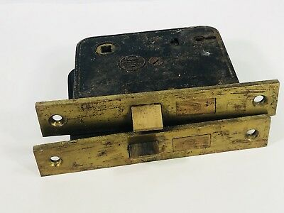 Lot of 2 Antique Yale & Towne Brass Door Locks Mortise Reclaimed Hardware