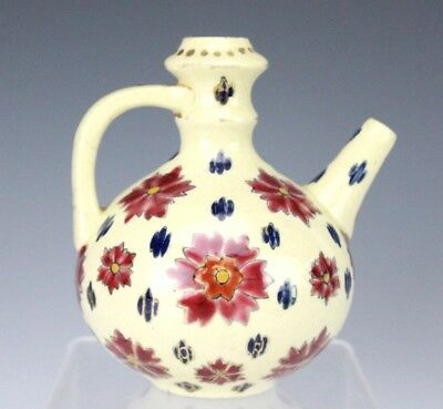 Signed Fischer Budapest Hand Painted Red Floral Mini Porcelain Teapot Vase BNF