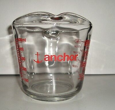 Red Anchor Usa 2 Cups 16 Oz  1/2 Quart Glass Measuring Cup C Handle