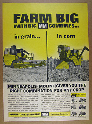 1966 Minneapolis-Moline MM 4296 & 2890 Combine Harvesters vintage print Ad
