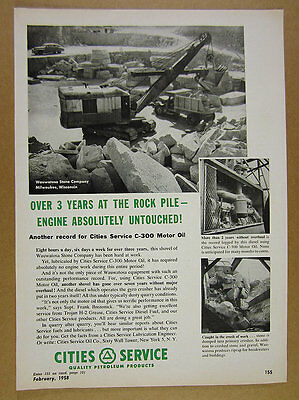1958 Wauwatosa Stone Co. Quarry photo Cities Service Motor Oil vintage print Ad