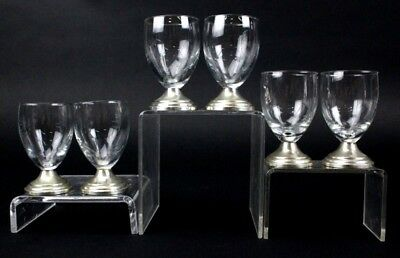 "Vintage Set Of 6 Continental Silver 835 Crystal Cordial 3"" Shot Glasses NR PBB"
