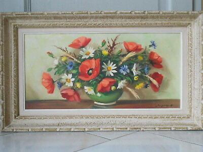 Vintage French OIL PAINTING Bouquet of FLOWERS  signed SURGEON 1950's