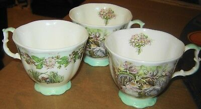1983 3 Royal Doulton Brambly Hedge Summer Jill Barklem Signed England 3 Tea Cups