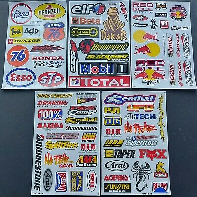 Pack Of 5 Five Sheets Of Bmx Moto-X Motor Sport Rally Racing Stickers:- Lot C