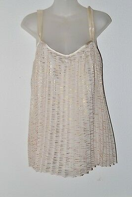 NY Collection Blouse Top Fancy Size Large Ivory With Gold Sparkles  Preowned