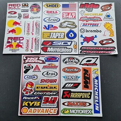 Pack Of 5 Five Sheets Of Bmx Moto-X Motor Sport Rally Racing Stickers:- Lot D