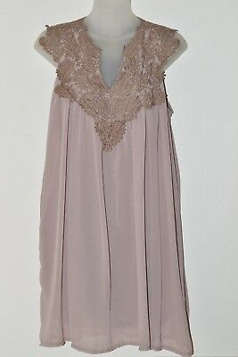 Womens Dress With Lace Yoke Lined  Size XLarge Taupe With Darker Lace  Preowned