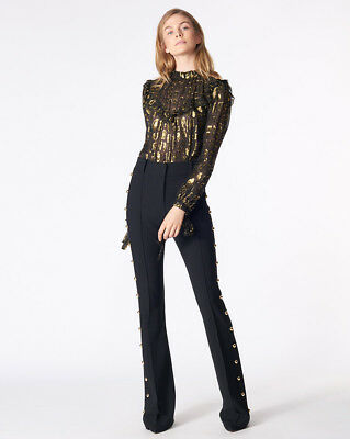 Veronica Beard LENNOX TROUSERS sleek flare With gold button details black $495