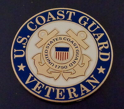 "U. S. COAST GUARD VETERAN 1.5"" 1 1/2"" round Lapel Pin USCG United States US USA"