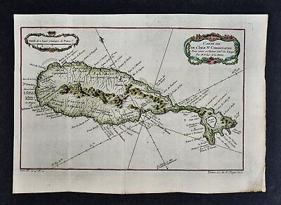 1758 Bellin Map - St. Chrisopher Island or Saint Kitts West Indies Caribbean Sea