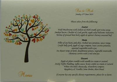 Personalised Ivory Wedding Menu A5 Insert Tree And Love Bird Design 15 Colours