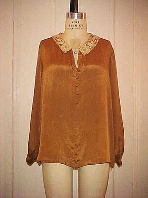 VTG 1920s FLAPPER ERA BLOUSE, ART DECO, COPPER TONE SILK w/ LACE COLLAR, LNG SLV
