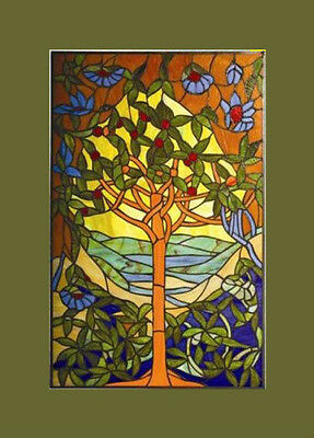 LAST ONE THIS PRICE Tiffany Stained Glass Glass Window Panel Tree of Hope 20x32
