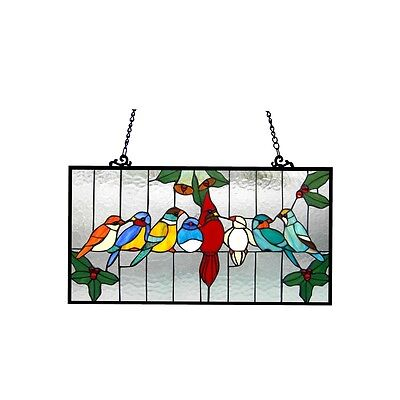 "Singing Birds on Wire Tiffany Style Stained Glass Window Panel  12.5"" x 24.5"""