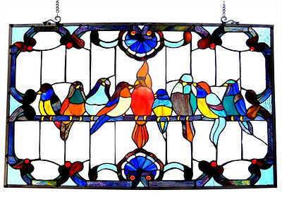 "VERY COLORFUL Singing Birds Stained Glass Window Panel 32"" Long x 20"" High"
