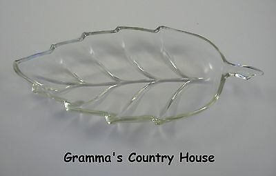 "Vintage Clear Glass Leaf-Shaped Pickle / Celery / Olive Dish - 8"" long"