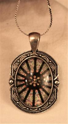 Handsome Swirl Rim Black & Rose Stained Glass Window Rectangle Silvertn Necklace