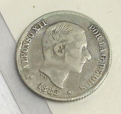 1885 Philippines 10 Centimos, Spanish Empire silver coin