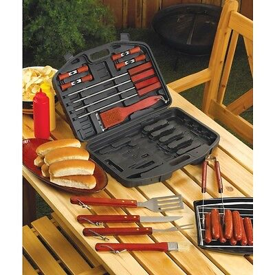 Barbecue BBQ Grill Tool Set Multiple Pieces Stainless Steel Wood Handles NEW