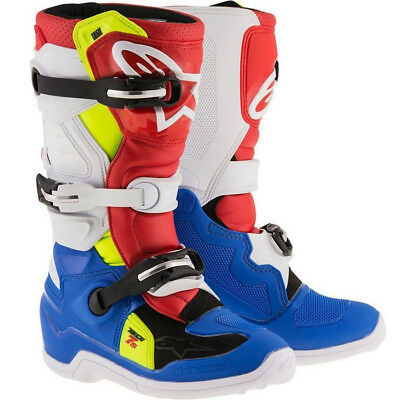 Alpinestar Tech 7S Youth Motocross Mx Boots Blue / White / Red / Yellow / Flo