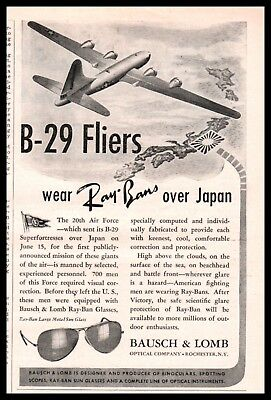 1944 WWII RAY-BAN Sun Glasses B-29 Superfortress 20th Air Force Bausch & Lomb AD