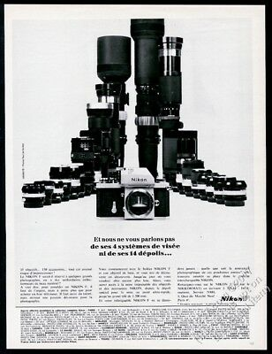 1968 Nikon F camera & many lenses photo unusual French vintage print ad