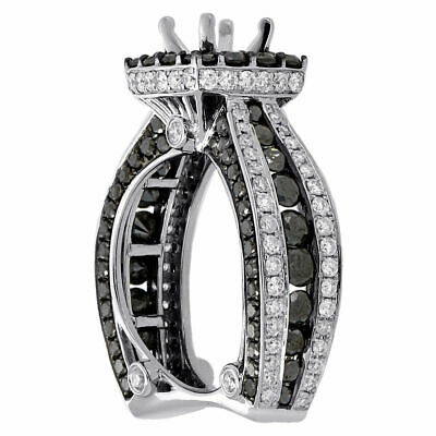 6876b6acc 14K White Gold Black Diamond Solitaire Semi Mount Halo Engagement Ring 4.38  Ct.