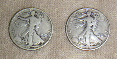 2 United States 90% Silver Walking Liberty Half Dollars Halves 1917-S & 1918-S